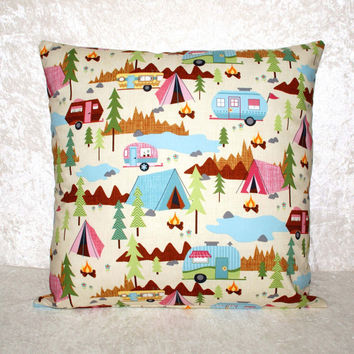 "Throw Pillow Cover • Cushion Cover • Decorative Pillowcase • Fits 18"" x 18"" Pillow • Glamping • Camping Decor • RV • Camper • FREE SHIPPING"