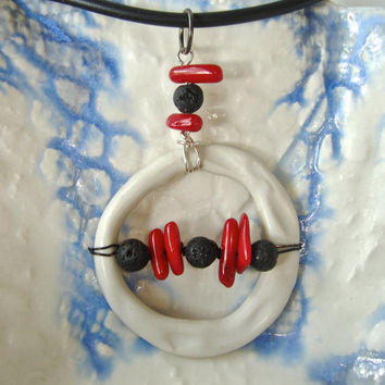 Modern donut pendant, ceramic jewelry, black white and red, handmade artisan bead and lava rock and coral