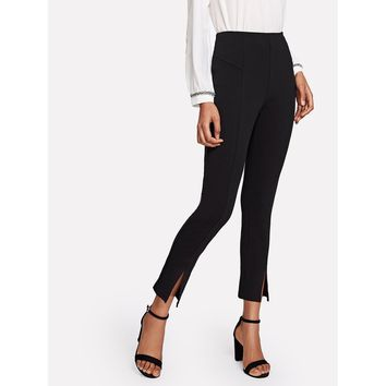 Black Mid Waist Split Crop Pant