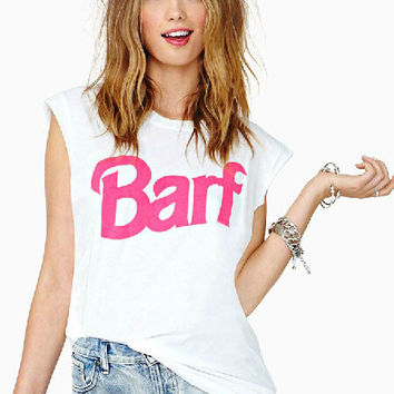 White BARF Graphic Print Sleeveless Top