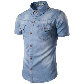 2017 Men Jeans Shirt Cotton Thin Short Sleeve Denim Shirts Men's Single Breasted Patchwork Cowboy Camisas Chemise Homme M-5XL