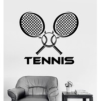 Vinyl Wall Decal Tennis Racket Ball Sports Racquet Stickers Unique Gift (ig3562)