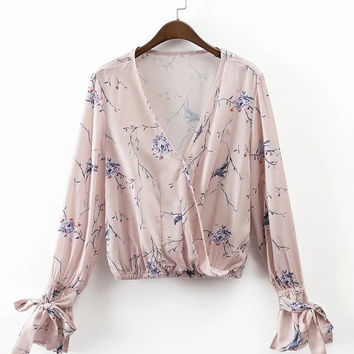 2017 Spring Floral Printted V-Neck Long Sleeve Tops Blouse [10454786575]