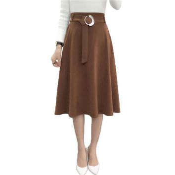 new Skirts Women Long A-Line Skirt Vintage Style elasticity High Waist Lace-up Skirts Kilt Autumn Fashion Tartan Umbrella Skirts