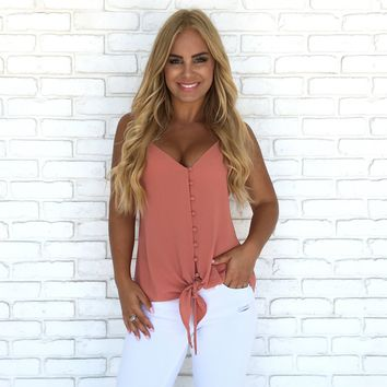 Summer Kisses Button Up Front Tie Top in Salmon