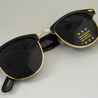 Vintage Deadstock CLUBMASTER Sunglasses BLACK with Super Dark Lenses