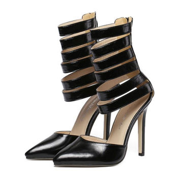 Roman Style Pointed High Heel Sandals  black