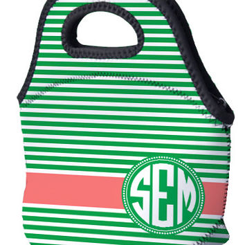 Lunch Tote - Horizontal lines and Monogram