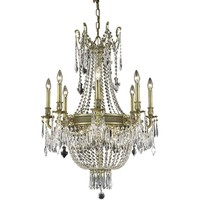 "Esperanza 26"" Diam Chandelier, French Gold, Clear Crystal, Elegant Cut"