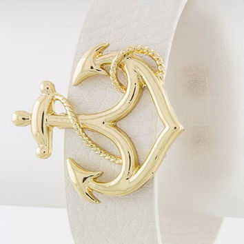 White Anchor Wrap Bracelet