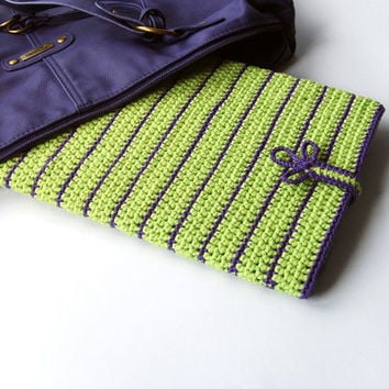 iPad Cover, iPad Case, Samsung Galaxy Tab case, Kindle cover, Nexus 10 case, Bright Green Violet sleeve, tablet case, crochet case