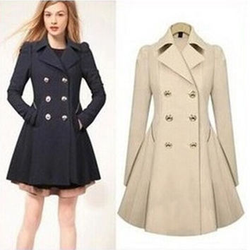 2016 Autumn Winter warm peacoat Women Fashion OL Trench Faux Long Design Coat Female overcoat manteau femme navi khaki
