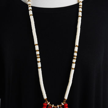 The Estella Necklace - White/Red