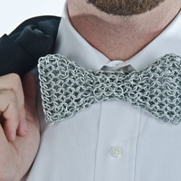 Chainmail Bow Tie, Silver