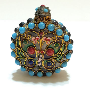 Chinese Snuff Bottle, Turquoise & Amethyst Cabochons, Cloisonne Snuff Bottle, Butterflies and Flowers, Antique