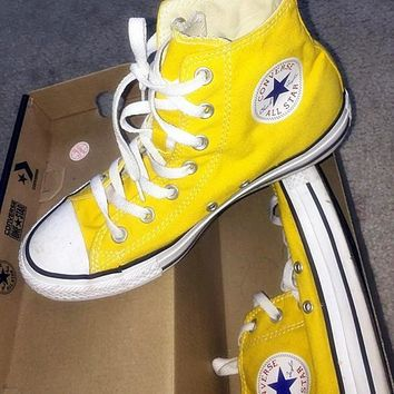 Converse Fashion High tops Wine red Canvas Flats Sneakers Sport Shoes Yellow