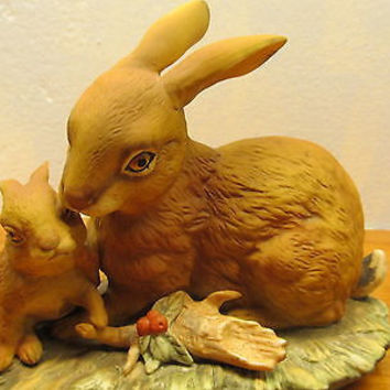 VINTAGE HOMCO MOTHER RABBIT AND BABY FIGURINE