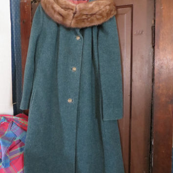 Vtg 50s  teal Green wool   with  wide  genuine Mink Collar Retro Swing Coat by Longenfelter  Brill