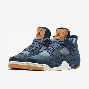 Air Jordan 4 Retro Levi??s Denim Aj4 Sneakers