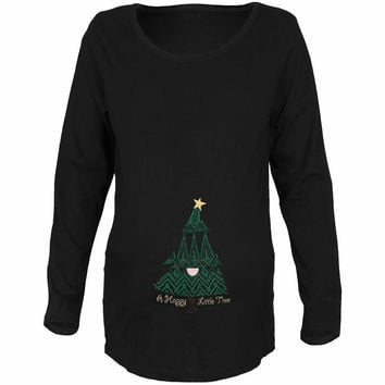 Christmas A Happy Little Tree Black Maternity Soft Long Sleeve T-Shirt