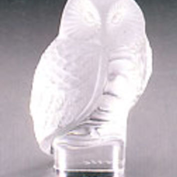 Lalique Crystal Owl Paperweight 11815