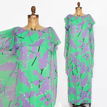 Vintage 70s Cape Back DRESS / 1970s Bright Mint Green & Lavender Floral Sheer Capelet Maxi M