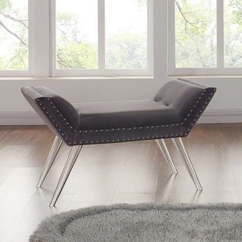 Armen Living Silas Ottoman Bench in Gray Tufted Velvet with Nailhead Trim and Acrylic Legs