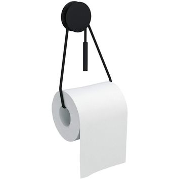 Bolo Self-Adhesive Toilet Paper Holder Tissue Roll Dispenser with Cord, Black