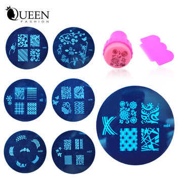 81Designs Nail Template Set, 20pcs Nail Art Stainless Steel Stamping Image Plates+Stamper+Scraper, Manicure Nail Art Tools