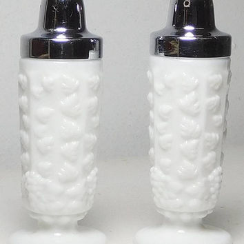 White Milk Glass Tall Salt and Pepper Shakers Silver Screw on Cap Vintage Pair Paneled Grape Footed Fenton Imperial Glass Westmoreland