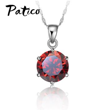 PATICO Cheapest!!!925 Sterling Silver Necklace Women   Wedding Jewelry 6 Claw Cubic Zircon  Pendant Engagement