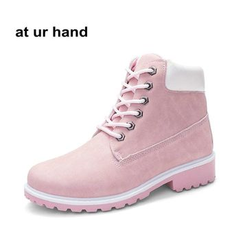 at ur hand New Pink  Women Boots Lace up Solid Casual Ankle Boots Martin Round Toe Women Shoes size 36-41