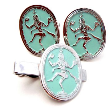 Swank Siam Dancer Cufflinks & Tie Clasp
