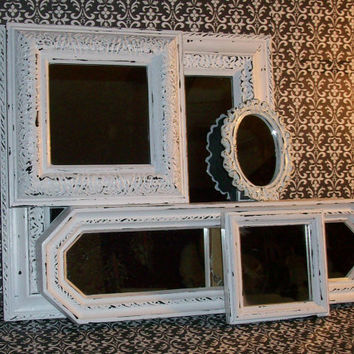 5 Shabby Chic Chippy White Wall Mirrors