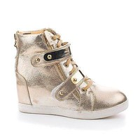 Majorie02 Gold Pu By Pazzle, Metallic Wedge Lace Up Velcro Gold Plated Strap Booties