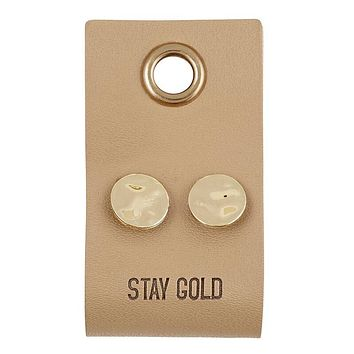 Stay Gold Leather Tag Earrings