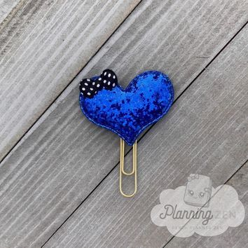 Royal Blue Heart Planner Clip Glitter Heart with Bow