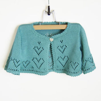 Knitted Baby Bolero Jacket - Turquoise Blue, 2 - 2.5 years