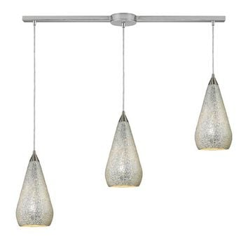 Elk Lighting 546-3L-SLV-CRC Curvalo Satin Nickel Three-Light Mini Pendant with Silver Crackle Glass