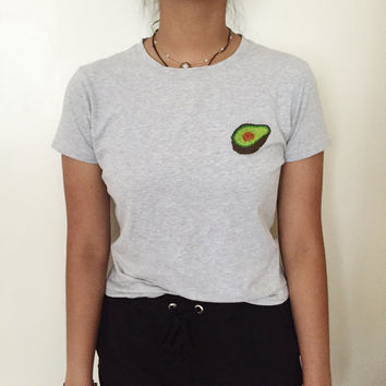 hand embroidered avocado logo grey shirt size M women's