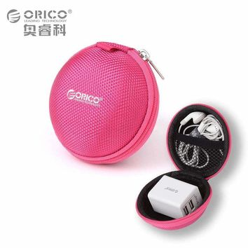ORICO Headphone Case Bag Portable Earphone Earbuds U-disk Storage for Memory Card USB Cable Organizer Mini Earphone Bag-Red