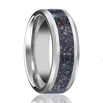 HORACIO Men's Polished Tungsten Wedding Band with Black Dinosaur Bone Inlay & Beveled Edges - 8MM