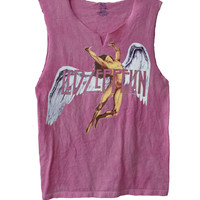 "Led Zeppelin ""Colorful Swan Song""  men's raw edge vintage look muscle shirt"