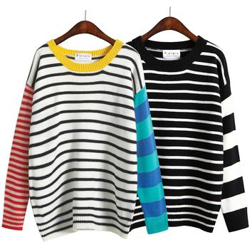 Harajuku Women O-Neck Loose Fresh Multi Colour Stripe Pullover Sweater Knitted Female Korean Kawaii Cute Jumper And Pullover