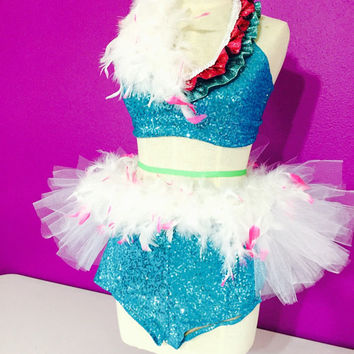 Turquoise and pink dance costume with feathers / halter top, half tutu and high waisted shorts / dance wear/ dance competition / lyrical