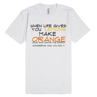 make orange juice-Unisex White T-Shirt