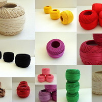 Linen ( coton ) yarn 3 balls, fine crochet,50 number,100% mercerized Egyptian cotton,RED,One ball's weight is 20gr