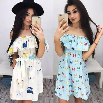 New fashion women off the shoulder dresses cute ruffles short sleeve dress ladies casual printed dresses