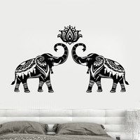 Vinyl Wall Decal Stickers Indian Elephants Animals Hinduism Hindu Lotus Stickers Unique Gift (698ig)