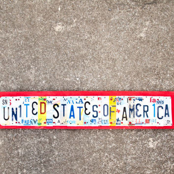UNITED STATES of AMERICA License Plate Art ooak by UniquePl8z